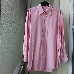 BROOKS BROS PINK WHITE PINSTRIPED DRESS SHIRT 16 3